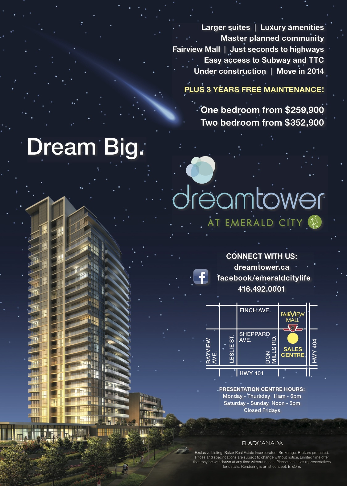 orange bazooka portfolio dream tower at emerald city print advertising image